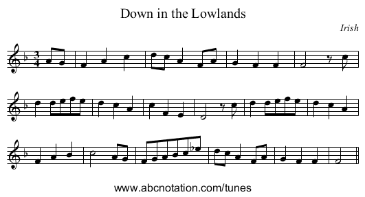 Down in the Lowlands - staff notation