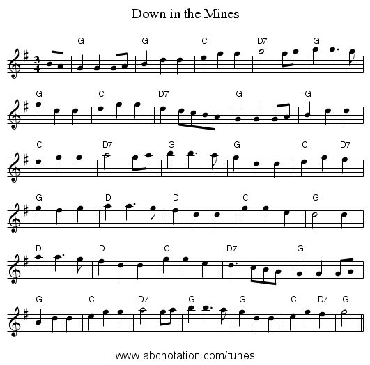 Down in the Mines - staff notation