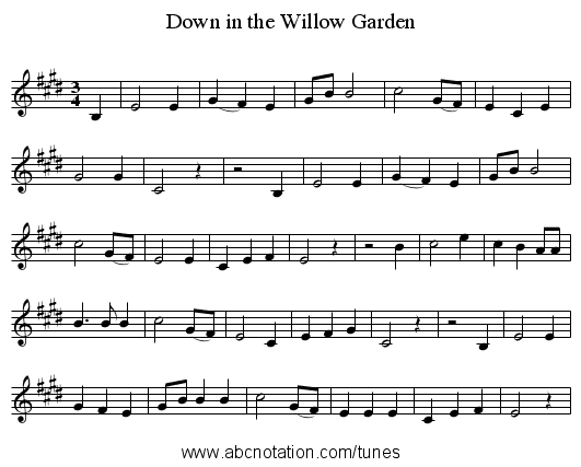 Down in the Willow Garden - staff notation