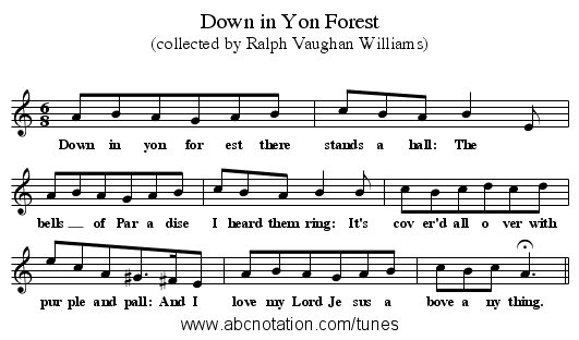 Down in Yon Forest - staff notation