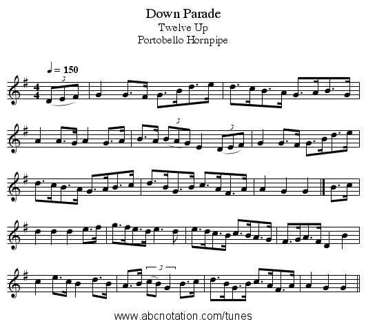 Down Parade - staff notation