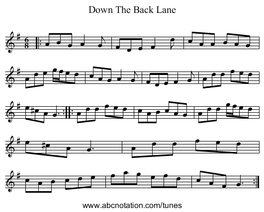 Down The Back Lane - staff notation