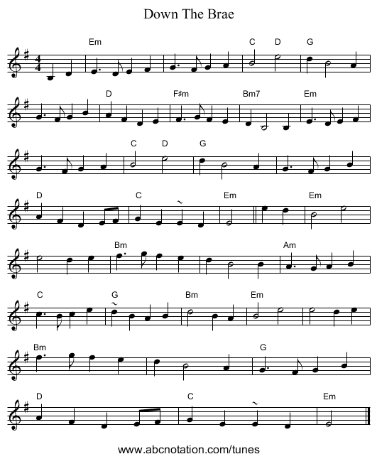 Down The Brae - staff notation