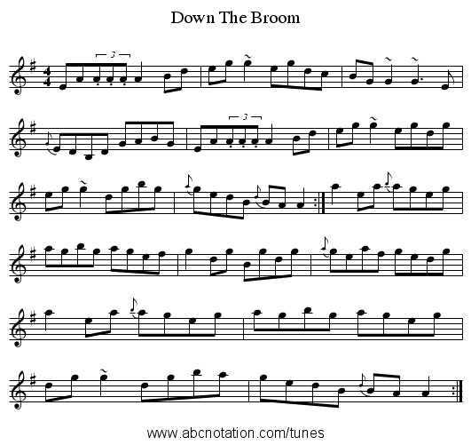Down The Broom - staff notation