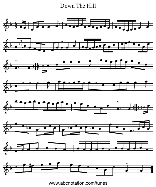 Down The Hill - staff notation
