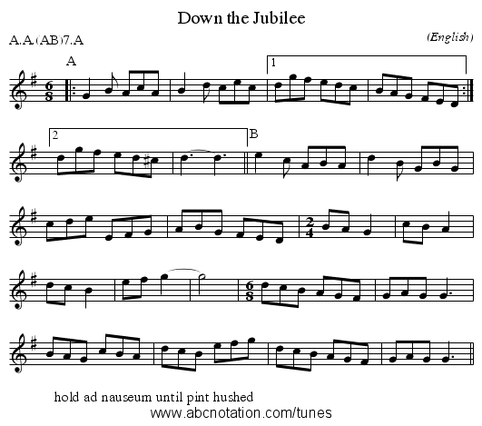 Down the Jubilee - staff notation