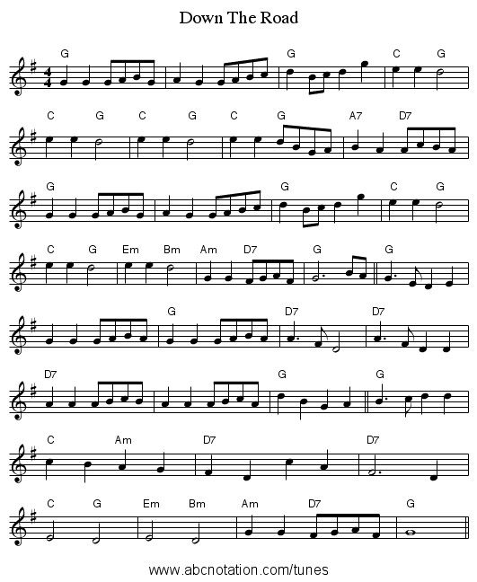 Down The Road - staff notation