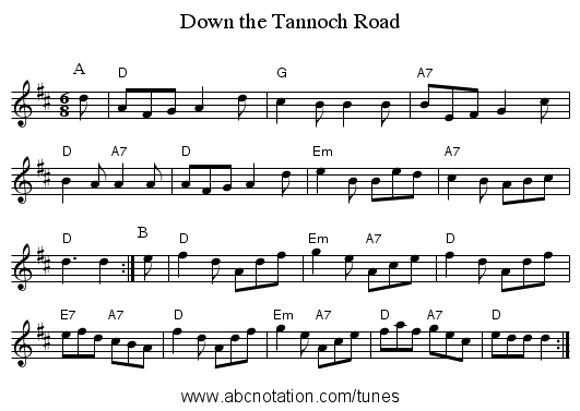 Down the Tannoch Road - staff notation