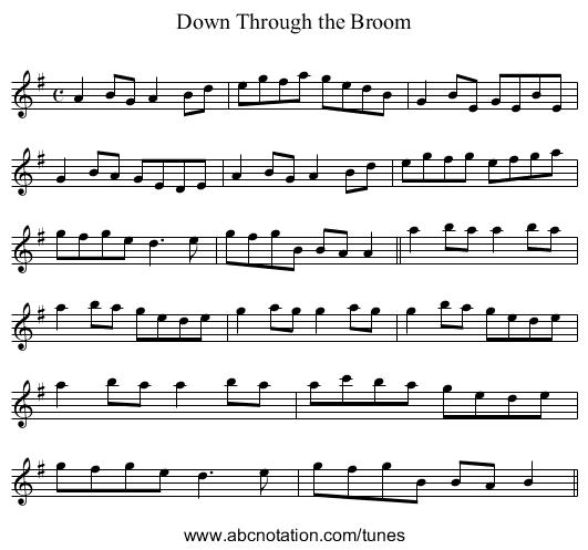 Down Through the Broom - staff notation