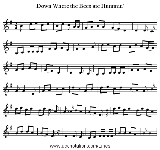 Down Where the Bees are Hummin' - staff notation