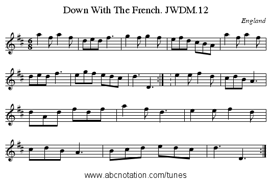 Down With The French. JWDM.12 - staff notation