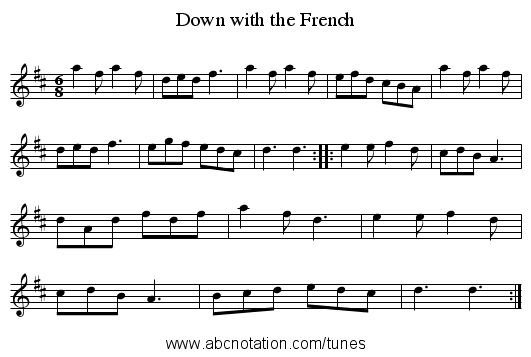Down with the French - staff notation