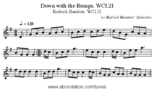 Down with the Rumps. WCl.21 - staff notation