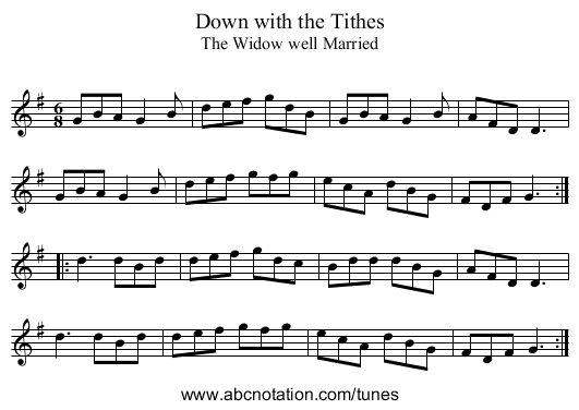 Down with the Tithes - staff notation