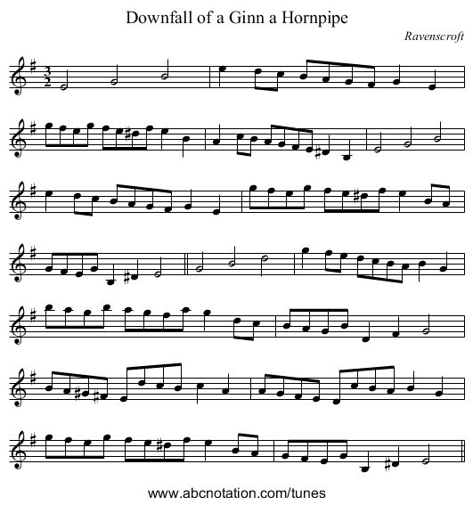 Downfall of a Ginn a Hornpipe - staff notation