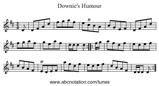 Downies' Humour - staff notation