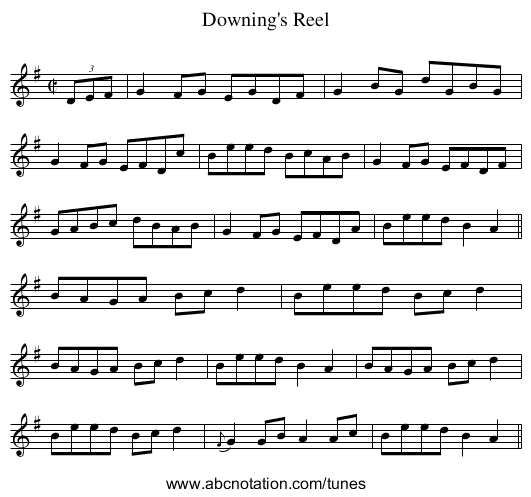 Downing's Reel - staff notation