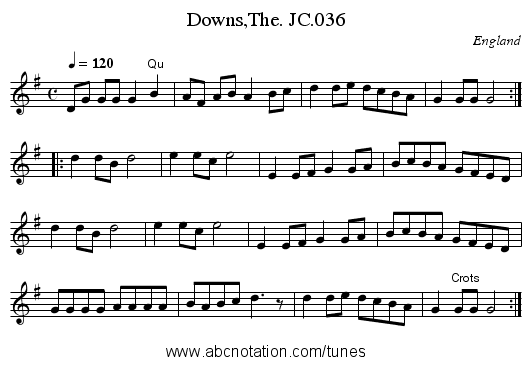 Downs,The. JC.036 - staff notation
