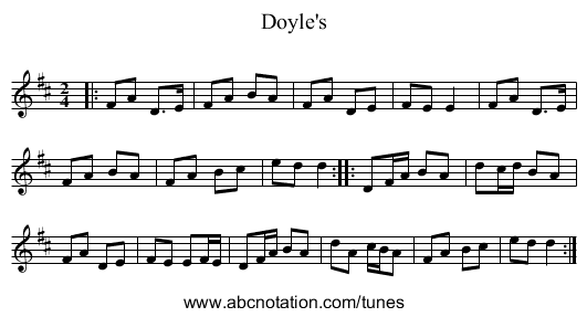 Doyle's - staff notation