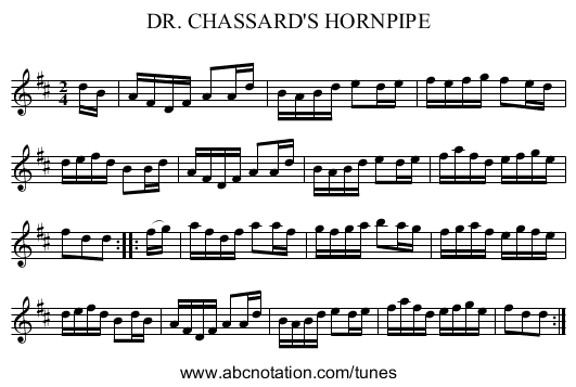 DR. CHASSARD'S HORNPIPE - staff notation