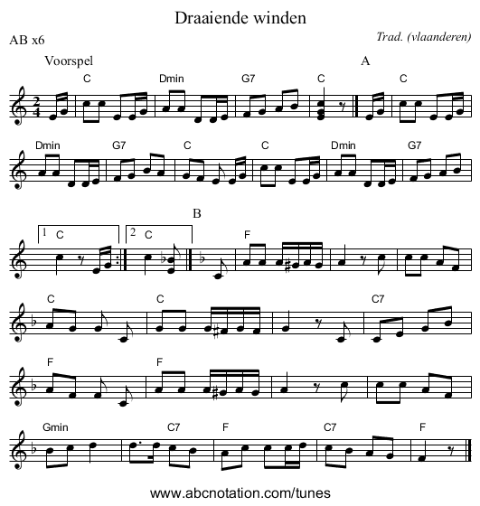 Draaiende winden - staff notation