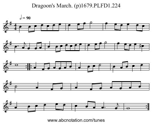 Dragoon's March. (p)1679.PLFD1.224 - staff notation