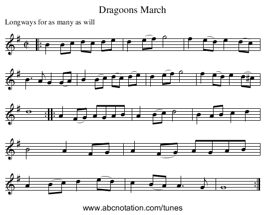Dragoons March - staff notation