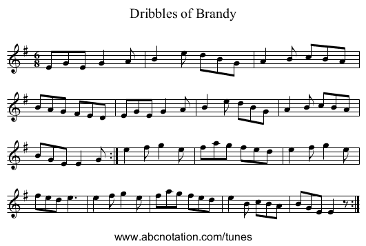 Dribbles of Brandy - staff notation