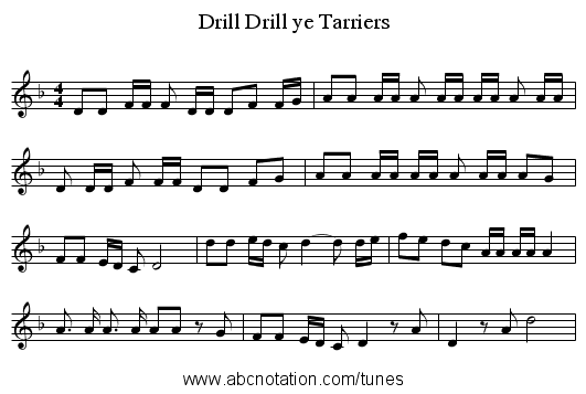 Drill ye Tarriers, Drill - staff notation