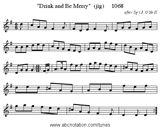 Drink and Be Merry  (jig)     1068 - staff notation