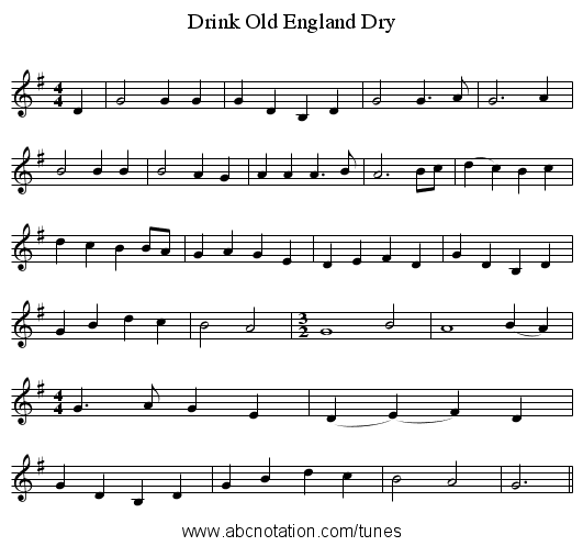 Drink Old England Dry - staff notation