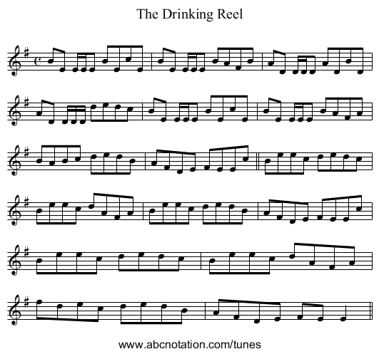 Drinking Reel, The - staff notation