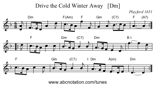 Drive the Cold Winter Away   [Dm] - staff notation