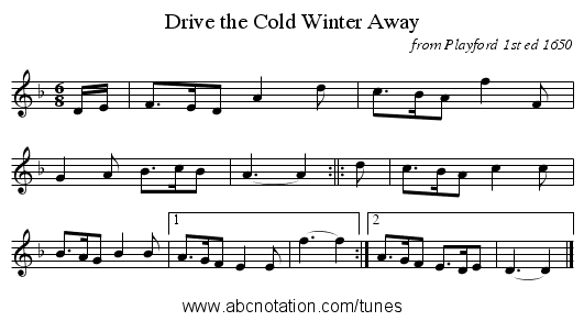 Drive the Cold Winter Away - staff notation