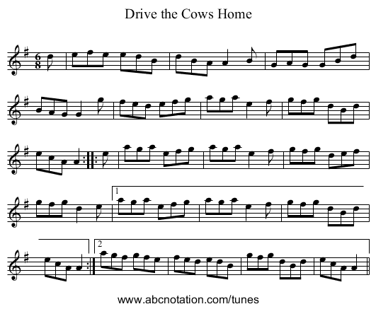 Drive the Cows Home - staff notation