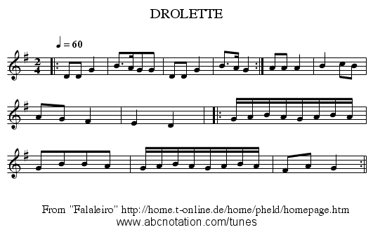 DROLETTE - staff notation