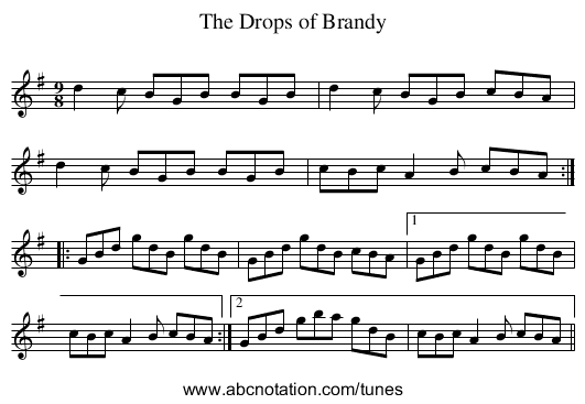 Drops of Brandy, The - staff notation