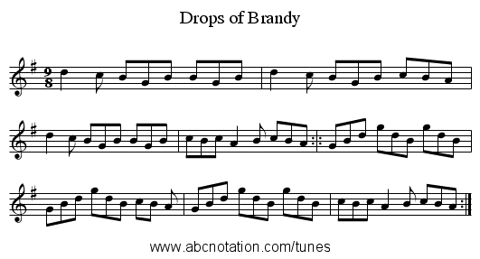 Drops of Brandy - staff notation