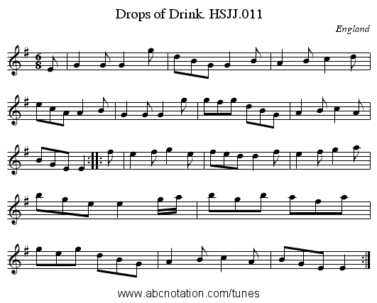 Drops of Drink. HSJJ.011 - staff notation
