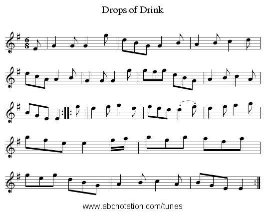 Drops of Drink - staff notation