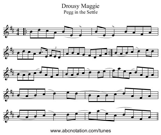 Drousy Maggie - staff notation