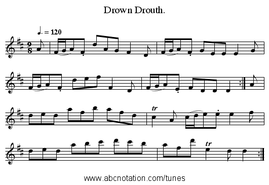 Drown Drouth. - staff notation