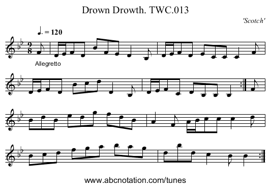 Drown Drowth. TWC.013 - staff notation