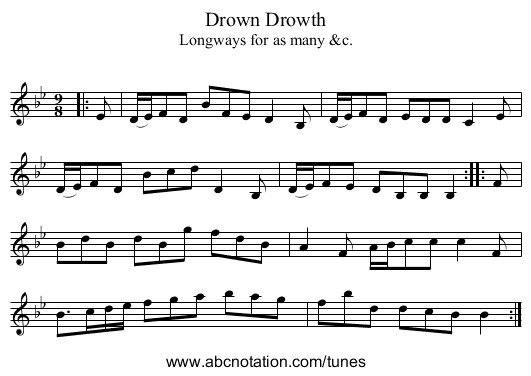 Drown Drowth - staff notation