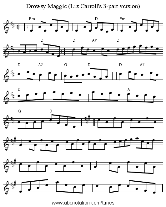 Drowsy Maggie (Liz Carroll's 3-part version) - staff notation