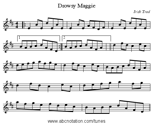 Drowsy Maggie - staff notation
