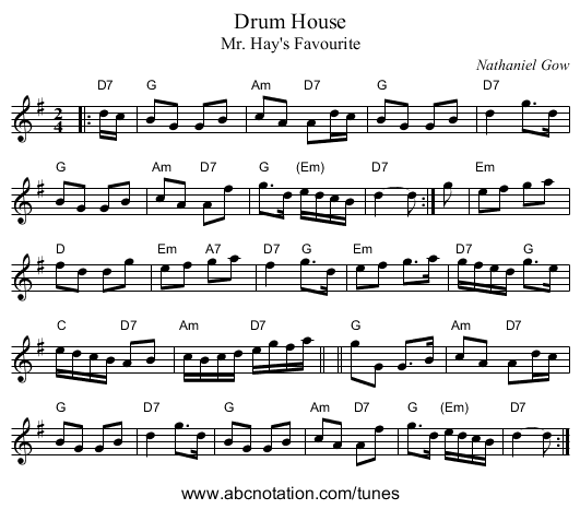 Drum House - staff notation