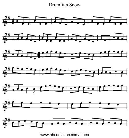 Drumfinn Snow - staff notation