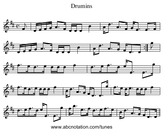 Drumins - staff notation