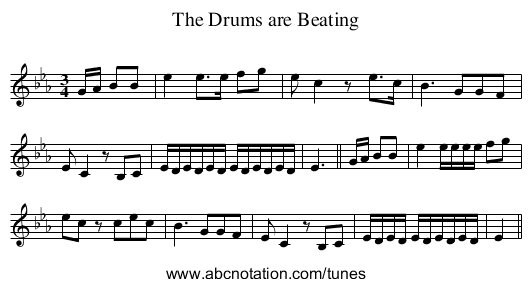 Drums are Beating, The - staff notation